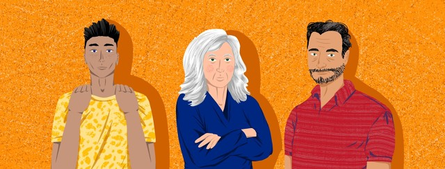 Three characters - a young Black ethnically ambiguous man, an older white woman, and a middle aged white man - stand with arms crossed.