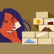 Woman building a wall of bricks that show common migraine triggers.