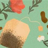 Tea bag surrounded by flowers and herbs.