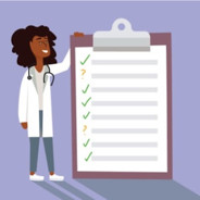 A female doctor smiling next to an oversized checklist on a clipboard.