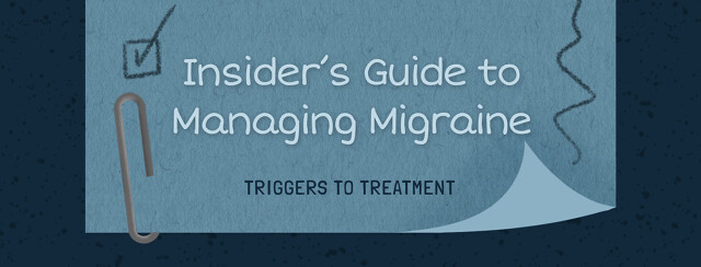 Sticky note with scribbles, check mark, reading Insider's Guide to Managing Migraine Triggers to Treatment