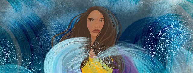 Latina woman stands determined, powerful amid crashing oceanic waves