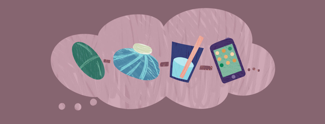 Thought bubble featuring medication pill, ice pack, water glass with straw, phone featuring apps
