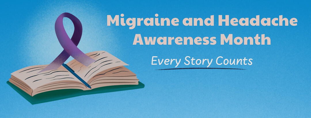 Book open with Migraine and Headache awareness month purple ribbon