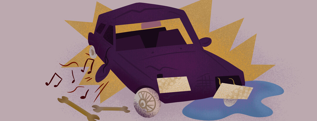 Broken down jalopy with headlight falling off, music playing from car, wrenches on the ground