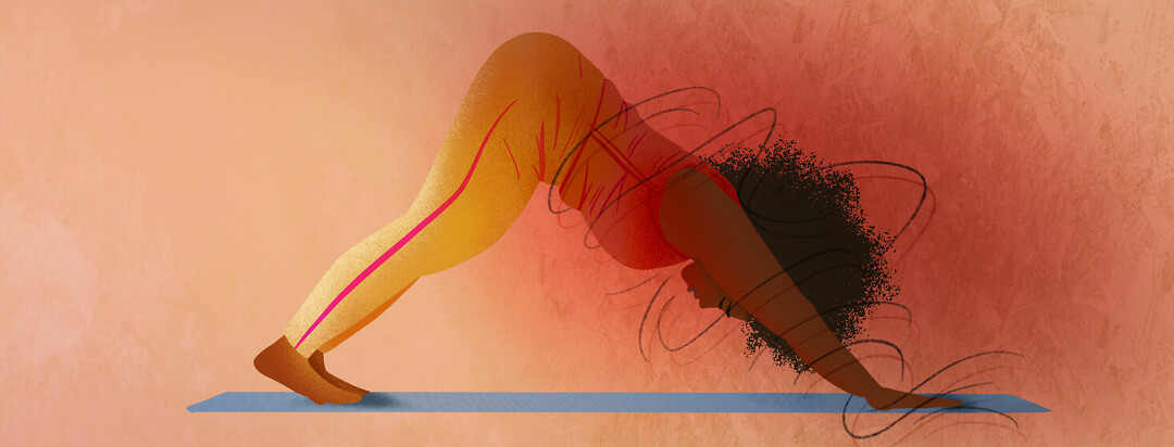 Woman in downward facing dog with pain trigger spirals around her torso and head