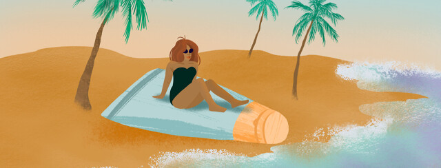 Redhead woman lounges in bikini atop gel bottle on a deserted beach