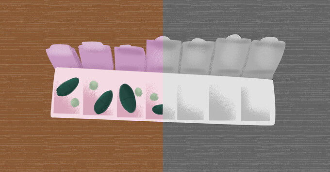 Pill organizer featuring full set on one side, black and white abrupt stop in medication on other side