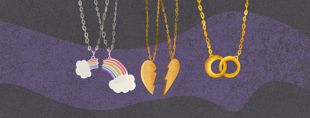 Three necklaces featuring broken rainbow, two halves of heart, two rings united