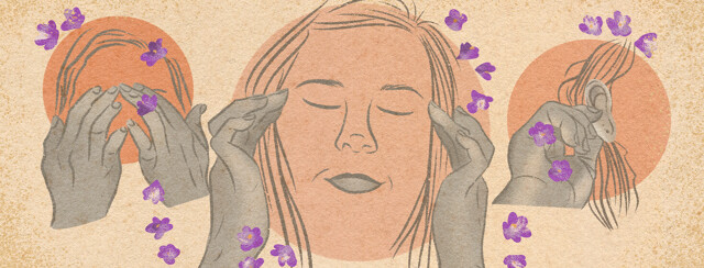 Hands touching face, temples, ear with lavender flowers