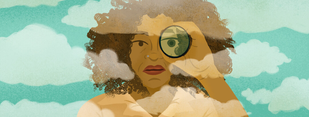 Woman holds spyglass while looking through misty clouds