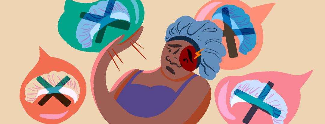 Black woman with hemiplegic migraine wards off talk bubbles featuring bonnet stigma