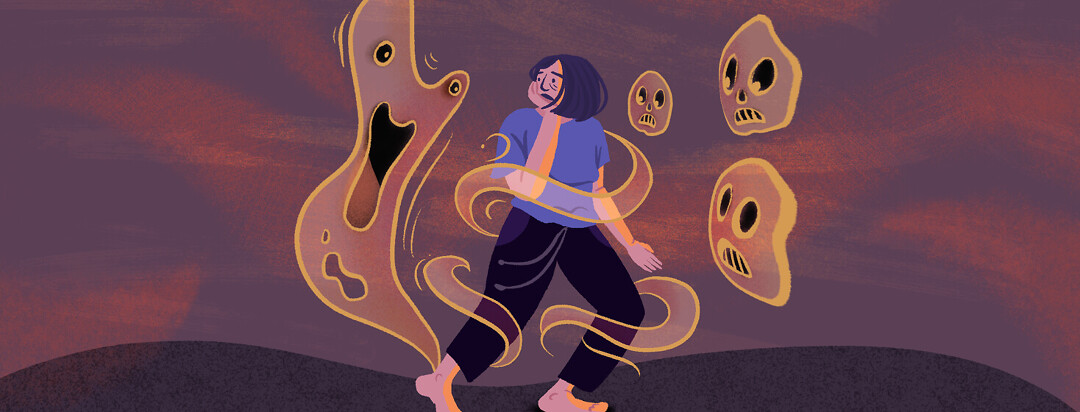 Woman fearfully looks over her shoulder as ghosts and ghouls surround her