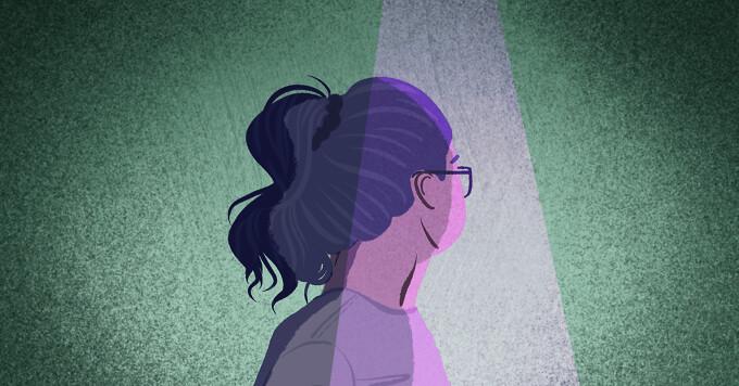 Profile of woman with purple highlight reflecting hemiplegic migraine