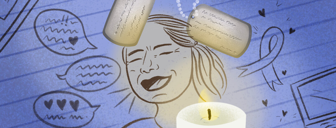 Drawn portrait of woman laughing, memorial candle, dog tags, awareness ribbon, talk bubbles sharing love