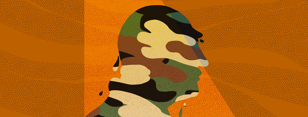 Profile of veteran draped in camo print dripping with spotlight