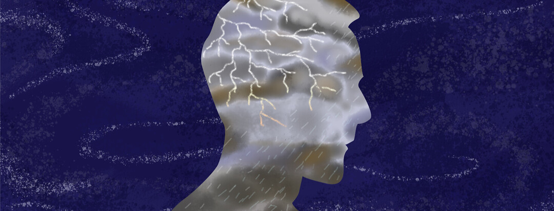 Face from profile featuring rain storm lightning bolts with swirl of dark night surrounding it