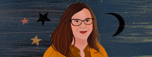 Portrait of Laura in front of starry sky with moon