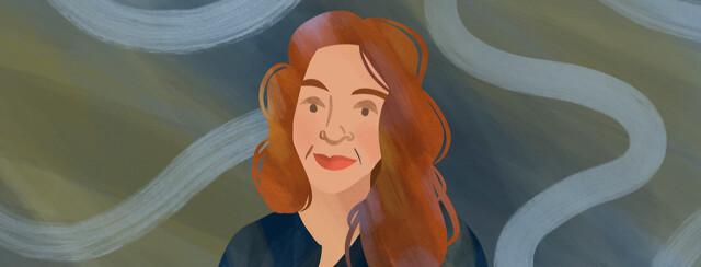 Portrait of Sarah with swirls behind her
