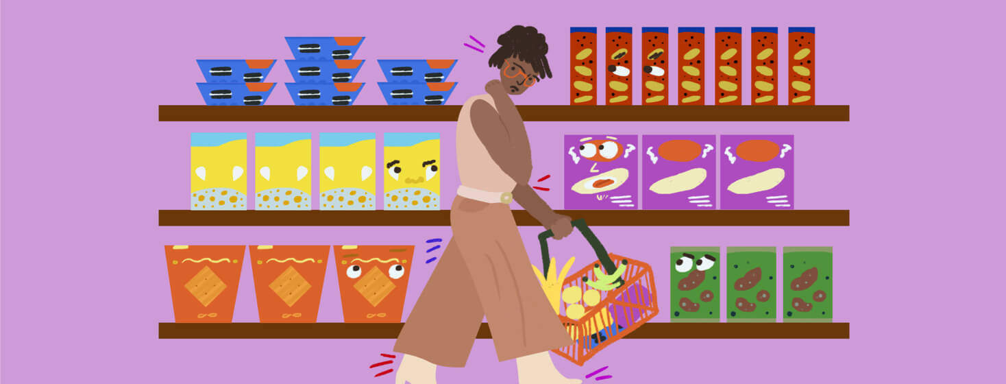 Woman subconsciously looks at food on grocery store shelves that is judging her