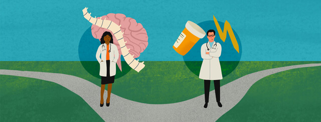 A neurologist and headache specialist stand at opposite sites of the road
