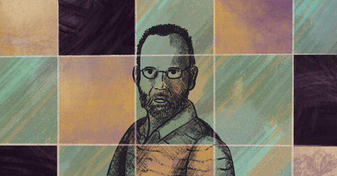Drawing of Mark Tamer among representations of ambient squares