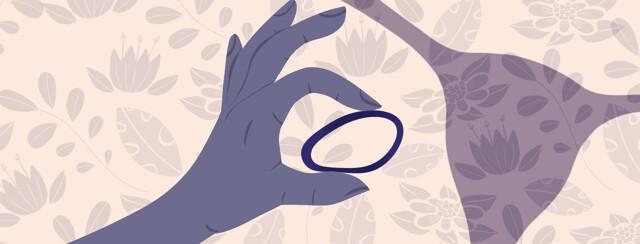 Uterus featuring hand holding NuvaRing birth control device