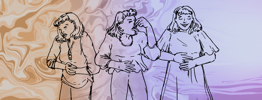 Three line drawings showing nauseous pregnant woman with relief after meds at the far right