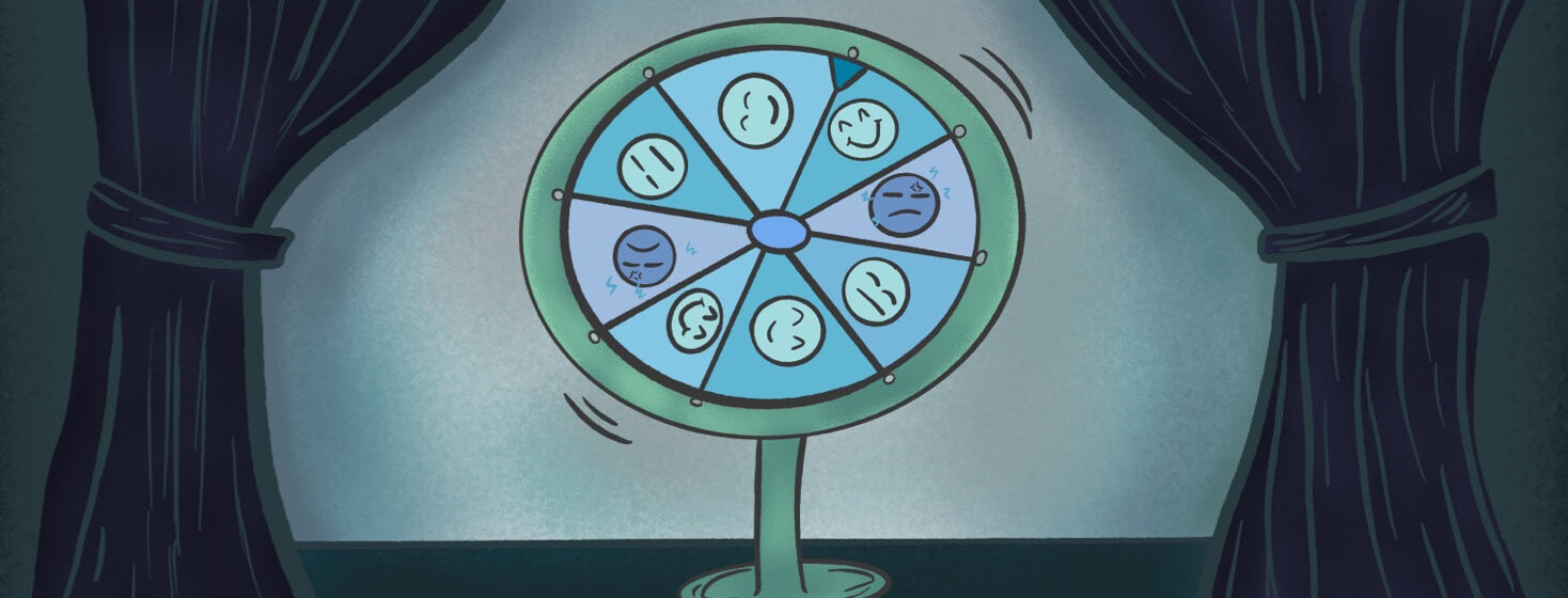 Spinning wheel on a stage with curtains drawn with different facial expressions some representing migraine and others are fine.