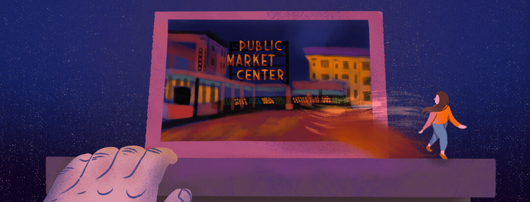 Snapshot of a mantle featuring a photograph of Public Market Center glowing colorfully at night. Woman from photo steps out of its frame and looks back wistfully