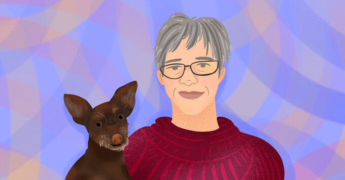 Portrait of Annie and her small brown dog