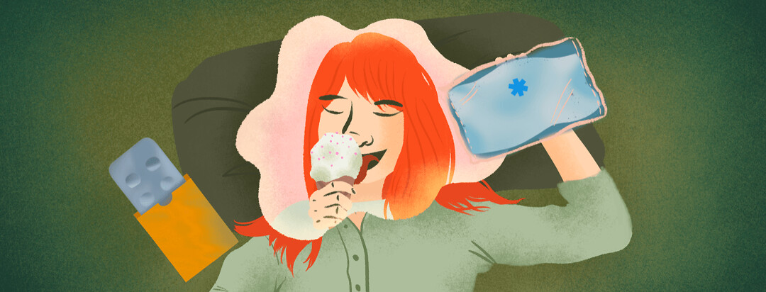 Woman experiencing a migraine with ice pack and abortive medication dreams of herself eating an ice cream cone